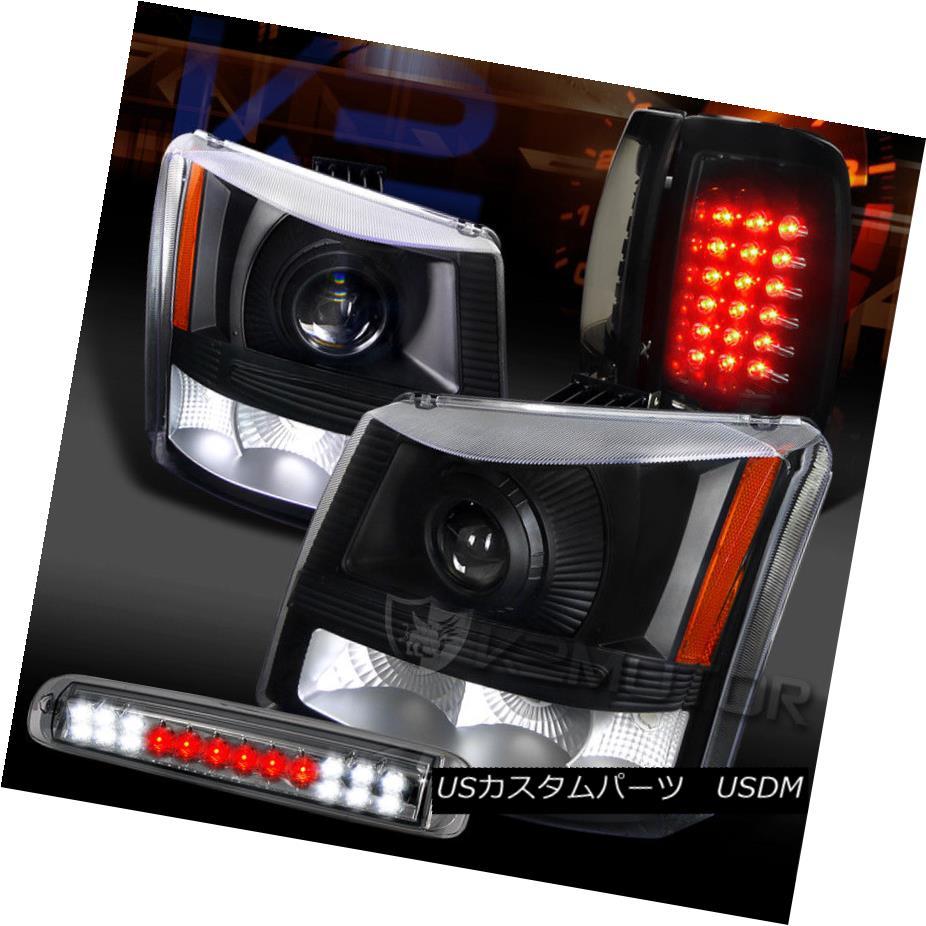 ヘッドライト 03-06 Silverado Projector Headlights+Piano Black Tail Lamps+Smoke LED 3rd Brake 03-06 Silveradoプロジェクターヘッドライト+ピアノ ブラックテールランプなし+スモークLED第3ブレーキ