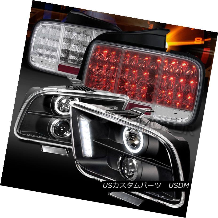ヘッドライト 05-09 Mustang Black Projector Headlights+Clear Sequential LED Signal Tail Lamps 05-09 Mustangブラックプロジェクターヘッドライト+ Cle  ar連続LED信号テールランプ