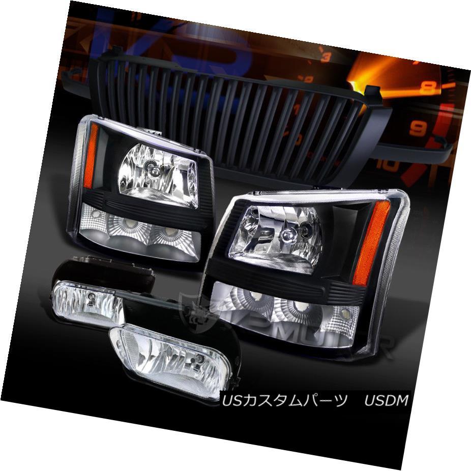 ヘッドライト 03-05 Silverado 1500 Black Headlights+Chrome Fog Lamps+Black Grille 03-05 Silverado 1500ブラックヘッドライト+ Chr  omeフォグランプ+ブラックグリル