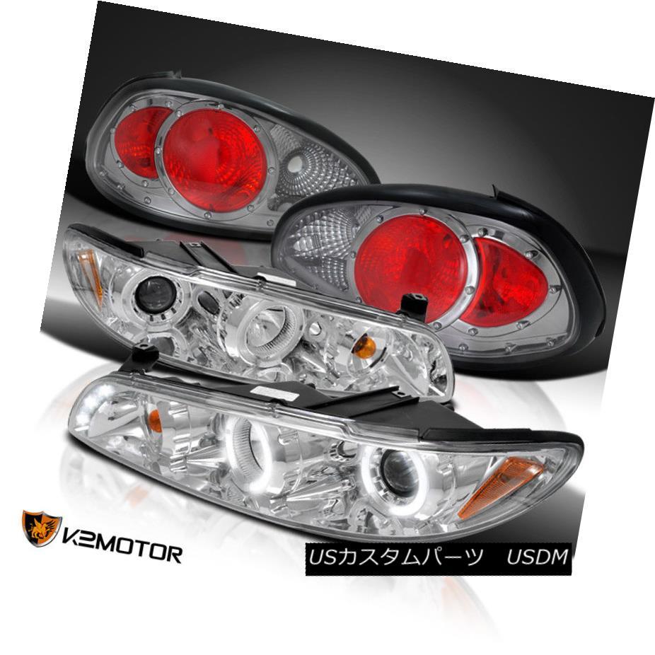 ヘッドライト 97-03 Grand Prix Chrome Dual Halo LED Projector Headlights+Smoke Tail Lamps 97-03グランプリクロームデュアルハローLEDプロジェクターヘッドライト+スモーキー keテールランプ