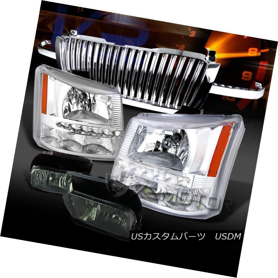 ヘッドライト 03-05 Silverado Chrome SMD LED Headlights+Smoke Fog Lamps+Hood Grille 03-05 Silverado Chrome SMD LEDヘッドライト+ Smo  keフォグランプ+フードグリル
