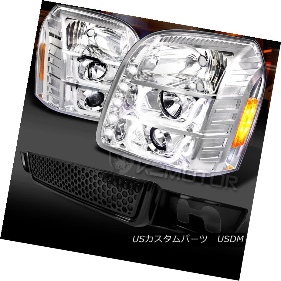 ヘッドライト 07-12 GMC Yukon Chrome Halo LED DRL Projector Headlights+Black Lower Hood Grille 07-12 GMC Yukon Chrome Halo LED DRLプロジェクターヘッドライト+ Bla  ck Lower Hood Grille