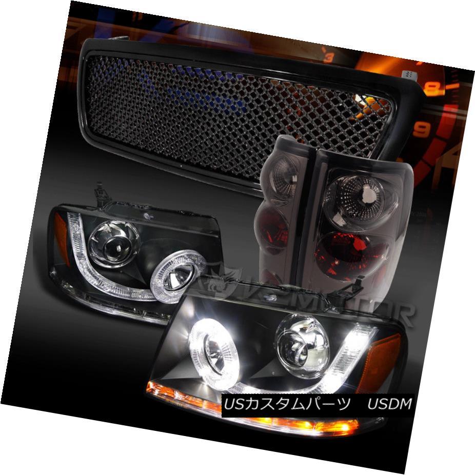 ヘッドライト 04-08 F150 Black SMD LED Projector Headlights+Grille+Smoke Tail Lamps 04-08 F150ブラックSMD LEDプロジェクターヘッドライト+グリル lle +煙テールランプ