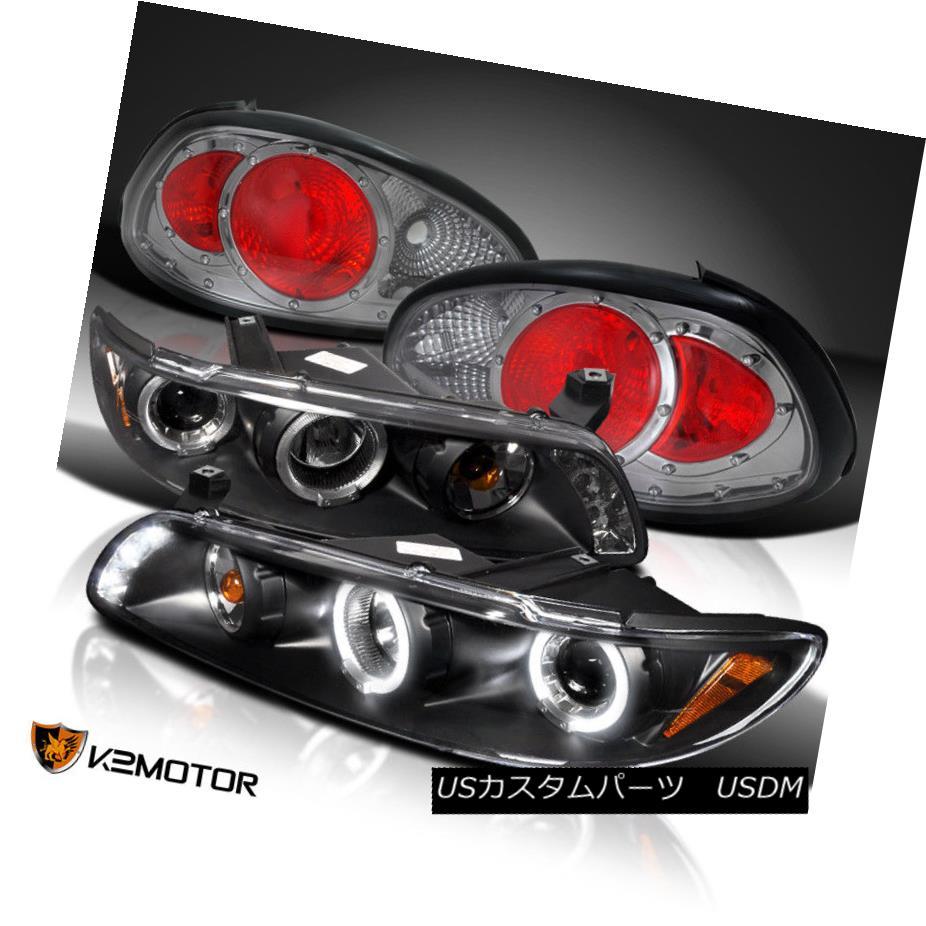 ヘッドライト 97-03 Grand Prix Black Halo LED Projector Headlights+Smoke Tail Brake Lamps 97-03グランプリブラックハローLEDプロジェクターヘッドライト+スモーク keテールブレーキランプ