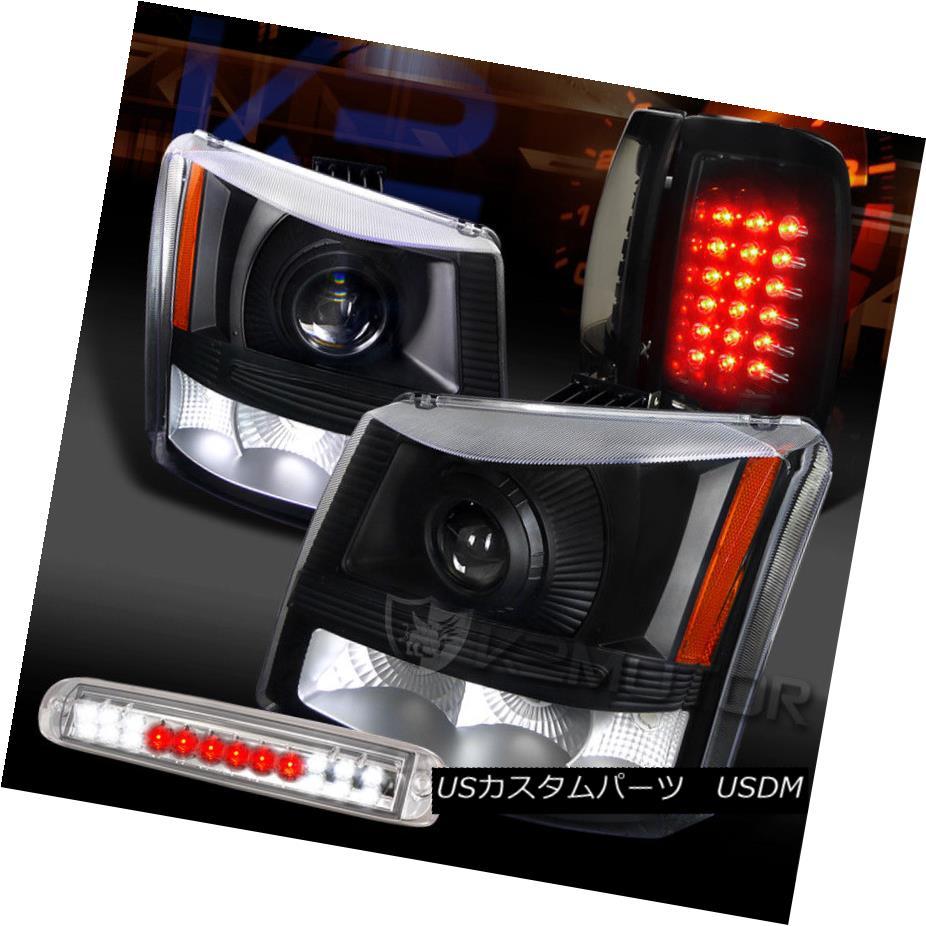 ヘッドライト 03-06 Silverado Projector Headlights+Piano Black Tail Clear LED 3rd Brake Lamps 03-06 Silveradoプロジェクターヘッドライト+ Pia ブラックテールクリアLED 3番目のブレーキランプ