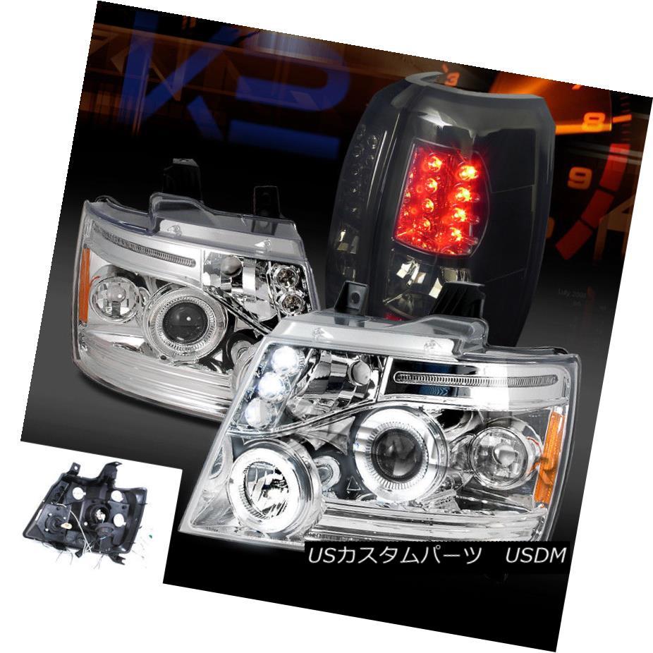 ヘッドライト 07-12 Avalanche Chrome Halo Projector Headlights+Smoke LED Rear Tail Lamps 07-12アバランシェクロームハロープロジェクターヘッドライト+スモール ke LEDリアテールランプ