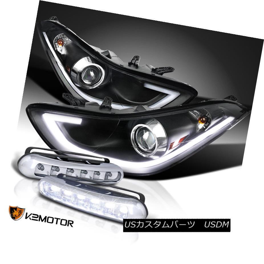 ヘッドライト FOR 11-13 Elantra Black LED Strip Bar Projector Headlights+LED DRL Fog Lamps FOR 11-13 Elantra Black LEDストリップバープロジェクターヘッドライト+ LED DRLフォグランプ