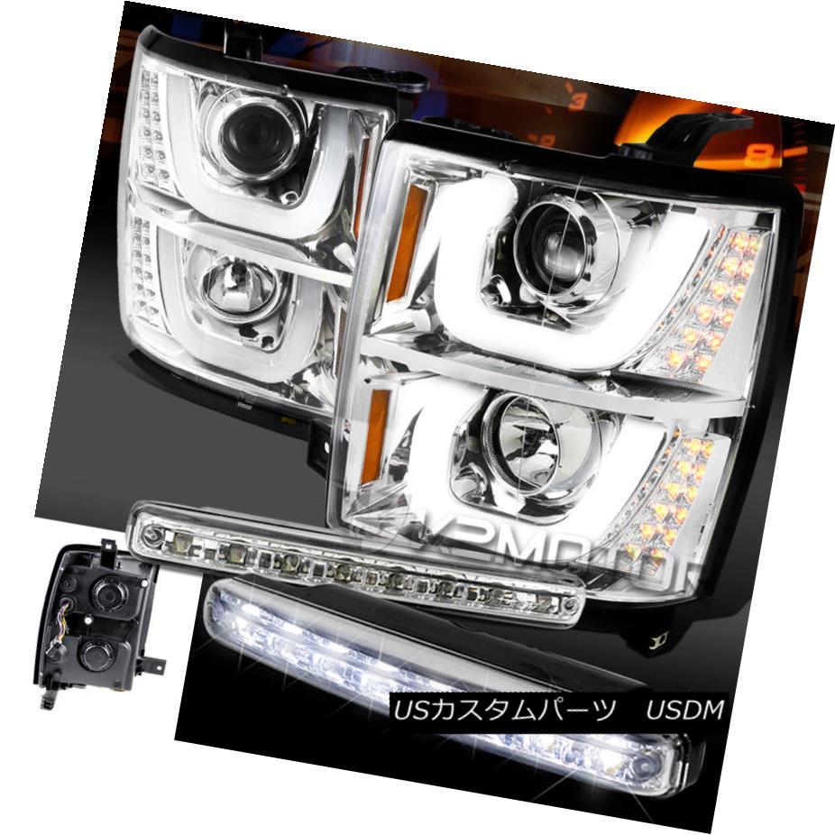ヘッドライト 14-15 Silverado 1500 Dual Halo LED Signal Projector Headlight+8-LED DRL Fog Lamp 14-15 Silverado 1500デュアル・ハローLEDシグナル・プロジェクター・ヘッドライト+ 8-LE D DRLフォグ・ランプ