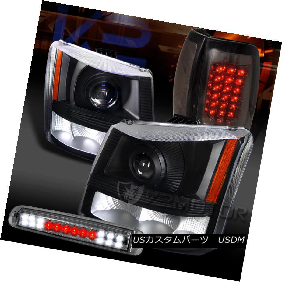 ヘッドライト 03-06 Silverado Black Projector Headlights+Smoke LED Tail 3rd Brake Lamps 03-06 Silverado Blackプロジェクターヘッドライト+ Smo  ke LEDテール第3ブレーキランプ