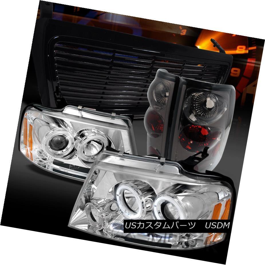 ヘッドライト 04-08 F150 Chrome Halo LED Projector Headlights+Black Grille+Tinted Tail Lamps 04-08 F150クロームハローLEDプロジェクターヘッドライト+ Bla  ckグリル+ティンテッドテールランプ