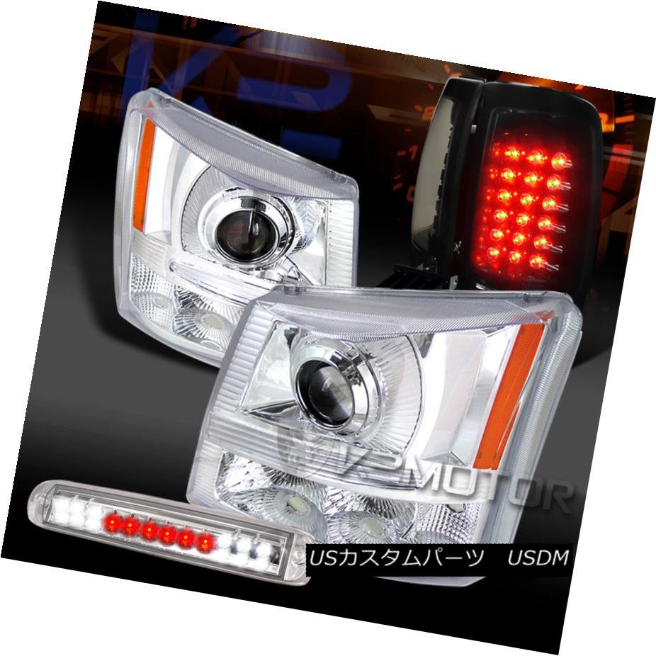 ヘッドライト 03-06 Silverado Chrome Projector Headlights+3rd Brake+Piano Black LED Tail Lamps 03-06 Silverado Chromeプロジェクターヘッドライト+ 3番ブレーキ+ピアノブラックLEDテールランプ