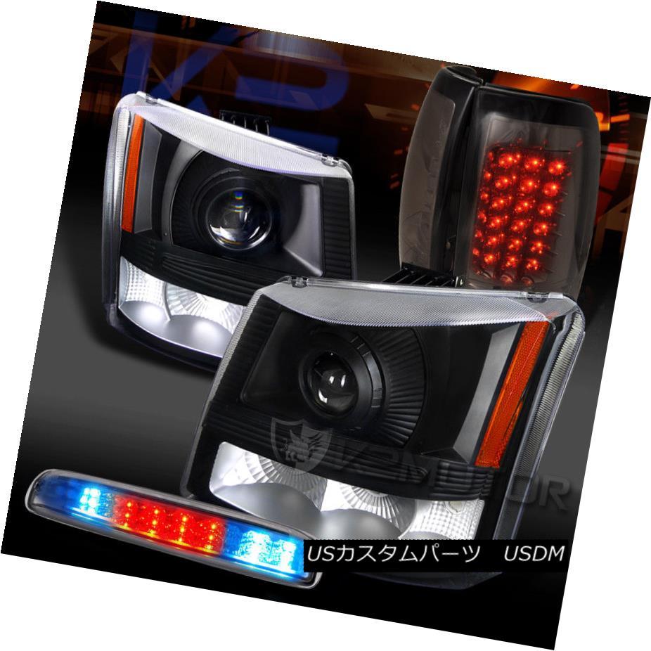 ヘッドライト 03-06 Silverado Black Projector Headlights+Smoke LED Tail Clear 3rd Stop Lamps 03-06 Silverado Blackプロジェクターヘッドライト+ Smo  ke LEDテールクリア第3ストップランプ