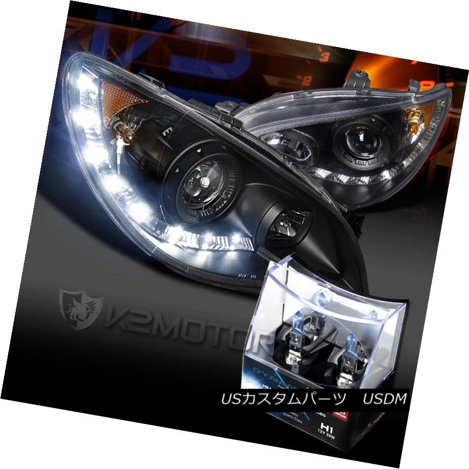 ヘッドライト For 06-07 Impreza WRX Black SMD LED DRL Projector Headlights+H1 Halogen Bulbs 06-07インプレッサWRXブラックSMD LED DRLプロジェクターヘッドライト+ H1ハロゲン電球