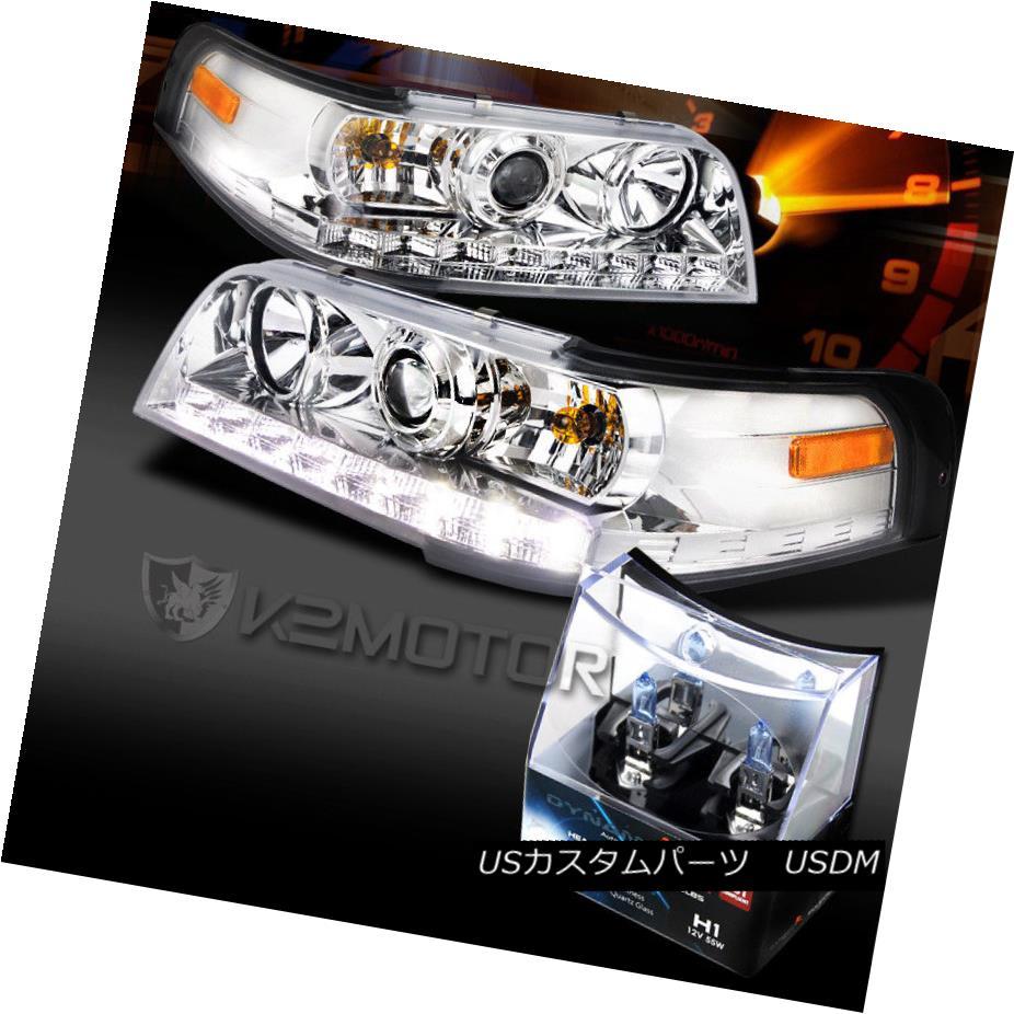 ヘッドライト 98-11 Crown Victoria Chrome LED Projector Headlights+H1 Halogen Bulbs 98-11クラウンビクトリアクロムLEDプロジェクターヘッドライト+ H1ハロゲン電球