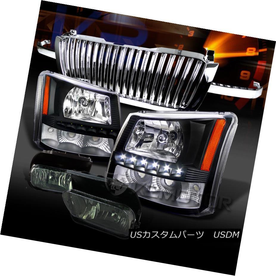 ヘッドライト 03-05 Silverado 1500 Black SMD LED Headlights+Smoke Fog Lamps+Hood Grille 03-05 Silverado 1500 Black SMD LEDヘッドライト+スモーキー keフォグランプ+フードグリル