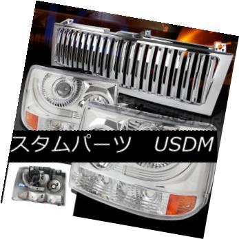 ヘッドライト 99-02 Silverado 1500/2500 Chrome Projector Headlights+Front Vertical Grille 99-02 Silverado 1500/2500クロームプロジェクターヘッドライト+  nt Vertical Grille用
