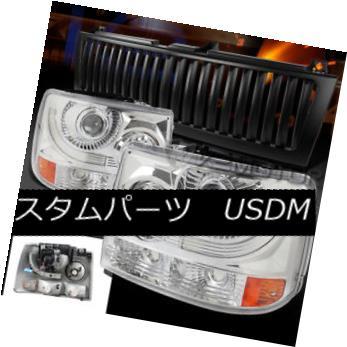 ヘッドライト 99-02 Silverado 1500/2500 Chrome Projector Headlights+Black Vertical Grille 99-02 Silverado 1500/2500クロームプロジェクターヘッドライト+ Bla  ck Vertical Grille