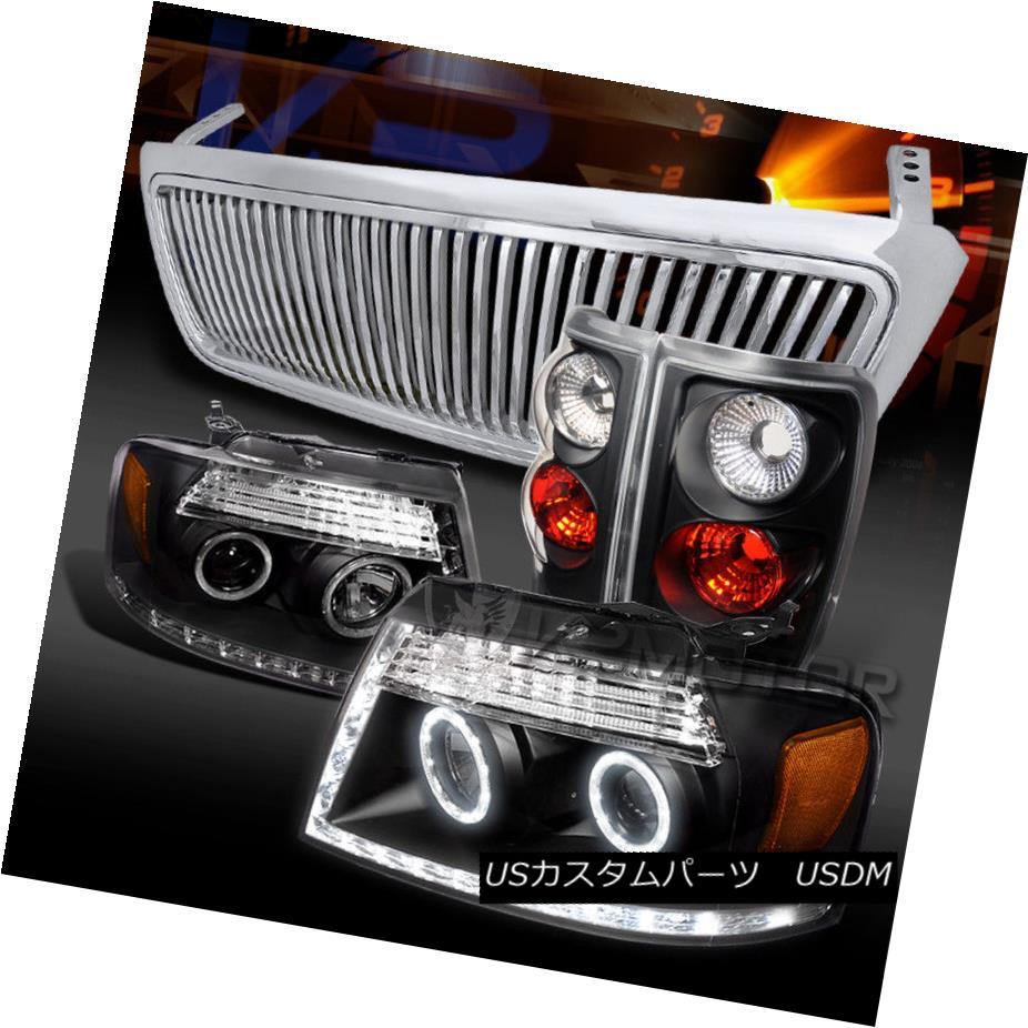 ヘッドライト 04-08 F150 Black LED Projector Headlights+Tail Lamps+Chrome Vertical Grille 04-08 F150ブラックLEDプロジェクターヘッドライト+タイ lランプ+クローム垂直グリル