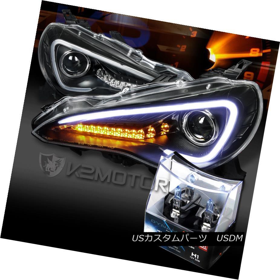 ヘッドライト 12-17 Scion FR-S Black LED DRL Signal Projector Headlights+H1 Halogen Bulbs 12-17 Scion FR-S黒色LED DRL信号プロジェクターヘッドライト+ H1ハロゲン電球