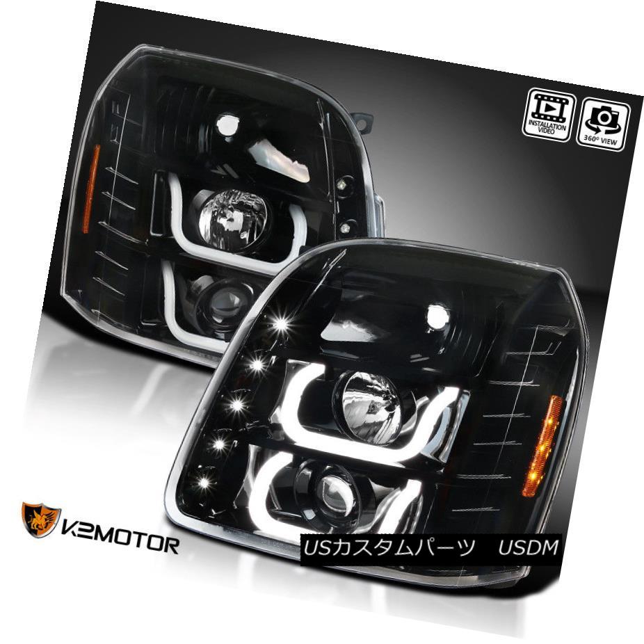 ヘッドライト [Jet Black] 2007-2014 GMC Yukon XL Denali Halo+LED DRL Projector Headlights Pair [ジェットブラック] 2007-2014 GMCユーコンXLデナリハロ+ LED DRLプロジェクターヘッドライトペア