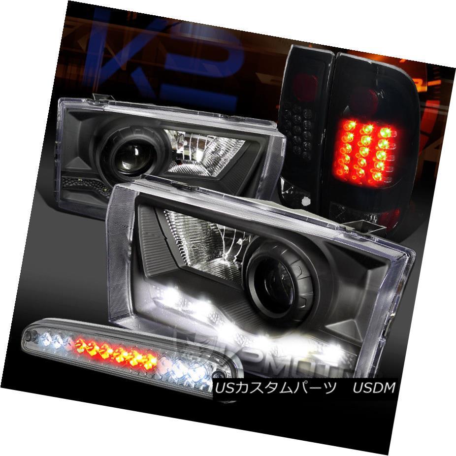 ヘッドライト 99-04 F250 SD SMD DRL Projector Headlights+Glossy Black LED Tail 3rd Brake Lamps 99-04 F250 SD SMD DRLプロジェクターヘッドライト+グロー ssyブラックLEDテール第3ブレーキランプ