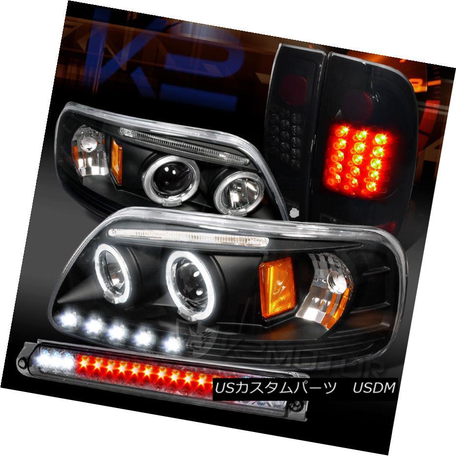 ヘッドライト 97-03 F150 Halo Projector Headlights+Piano Black LED Tail Lamps+Smoke 3rd Brake 97-03 F150ハロープロジェクターヘッドライト+ピアノ ブラックLEDテールランプなし+スモーク3ブレーキ