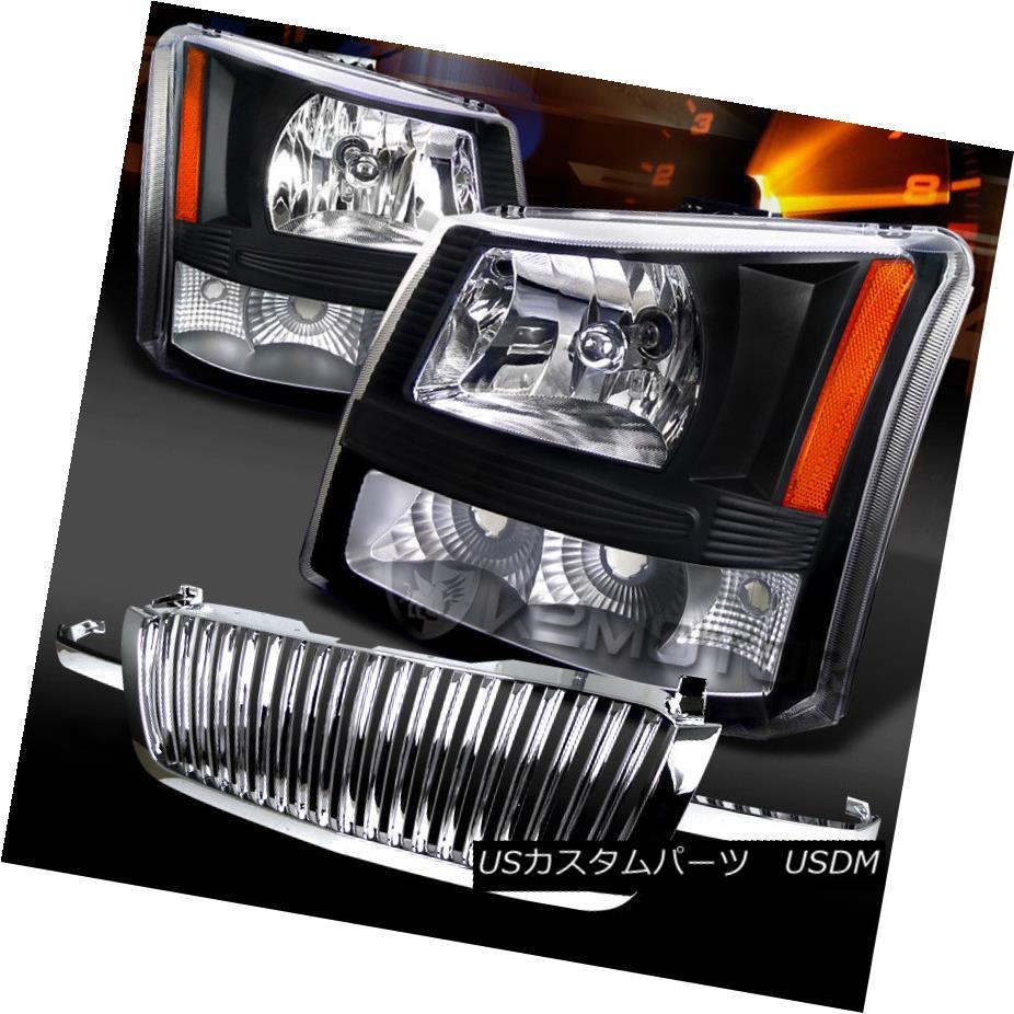 ヘッドライト 03-05 Silverado Avalanche Black Headlights+Chrome Front Hood Grille 03-05 Silverado Avalanche Blackヘッドライト+ Chr  omeフロントフードグリル