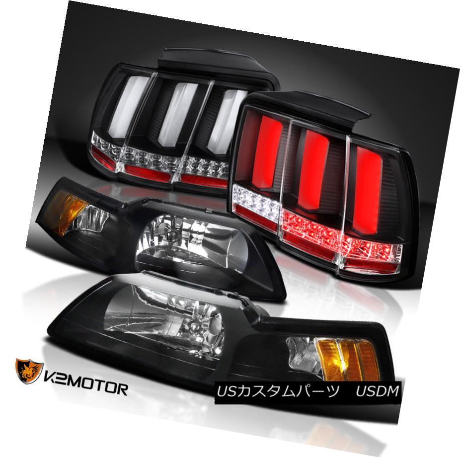 ヘッドライト Black 99-04 Mustang Cobra Headlights+Sequential Signal LED Tube Tail Lights ブラック99-04マスタングコブラヘッドライト+ Seq  uentialシグナルLEDチューブテールライト