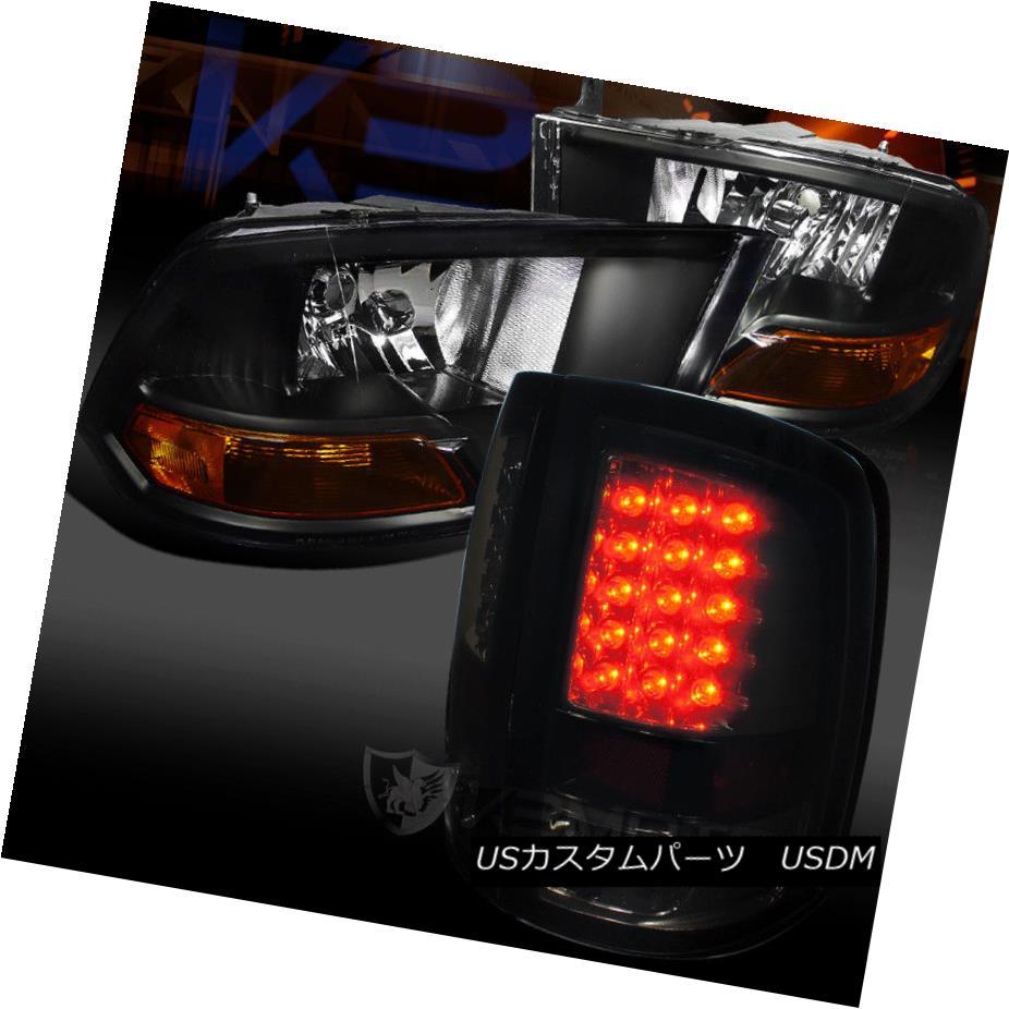 ヘッドライト 09-17 Dodge Ram Black housing Head lights+Smoke LED Taillights 09-17 Dodge Ramブラックハウジングヘッドライト+スモークLEDテールライト