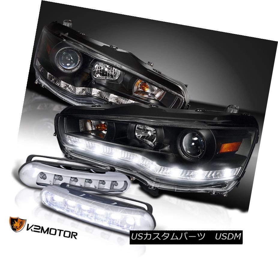 ヘッドライト 08-15 Mitsubishi Lancer Black R8 Style LED Projector Headlight+Bumper Fog Lamp 08-15三菱ランサーブラックR8スタイルLEDプロジェクターヘッドライト+バンプ erフォグランプ