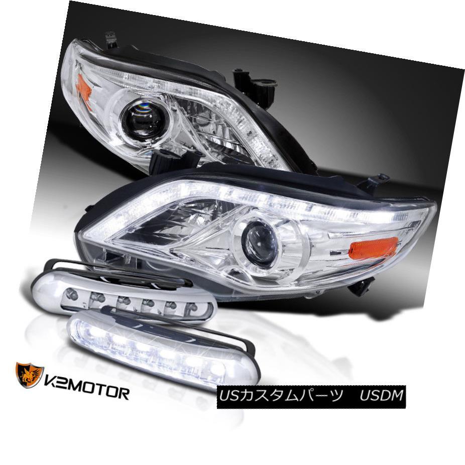ヘッドライト For 2011-2013 Corolla LED DRL Strip Projector Clear Headlights+LED Fog Lamps 2011-2013カローラ用LED DRLストリッププロジェクタクリアヘッドライト+ LEDフォグランプ