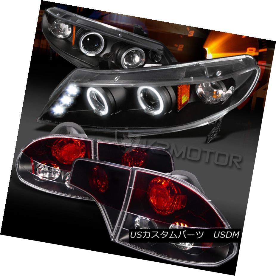 ヘッドライト Fit 06-11 Civic 4DR Black LED Halo Projector Headlights+Red/Clear Tail Lamps フィット06-11シビック4DRブラックLEDハロープロジェクターヘッドライト+レッド /クリアテールランプ