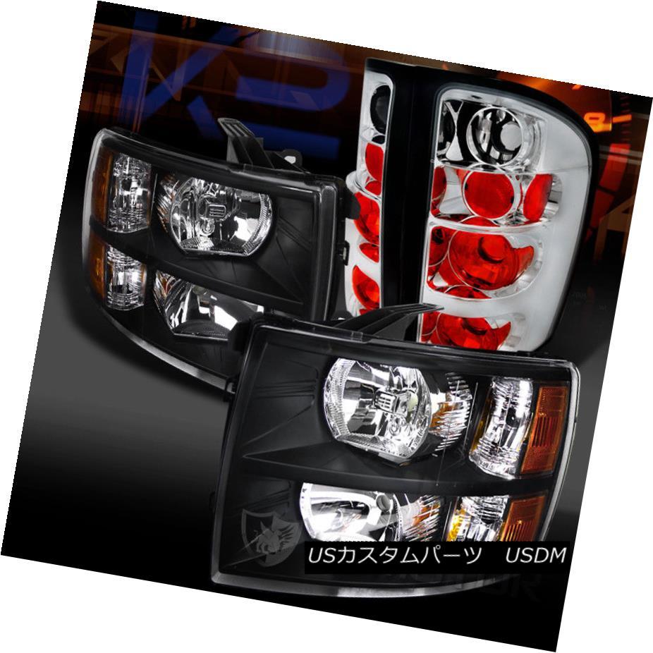 ヘッドライト 07-14 Silverado 1500 2500HD 3500HD Black Headlights+Chrome Tail Lamps 07-14 Silverado 1500 2500HD 3500HDブラックヘッドライト+ Chr  omeテールランプ