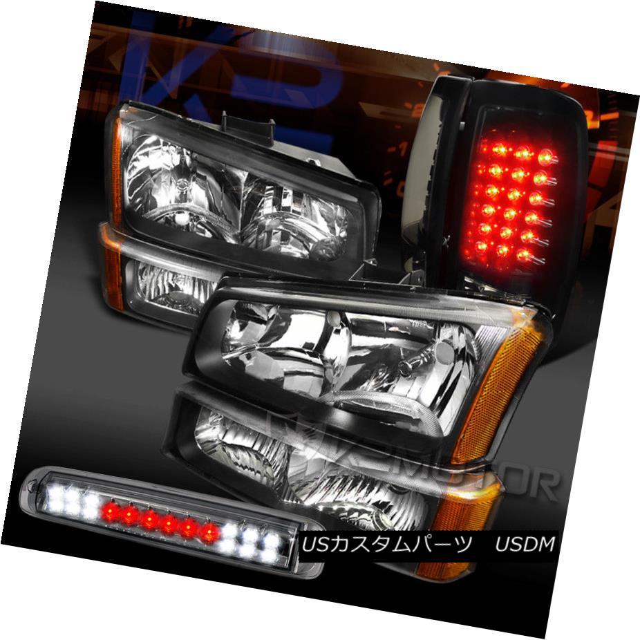 ヘッドライト 03-06 Silverado Headlights+Glossy Black LED Tail Smoke 3rd Brake Lamps 03-06 Silveradoヘッドライト+グロー ssyブラックLEDテール煙第3ブレーキランプ