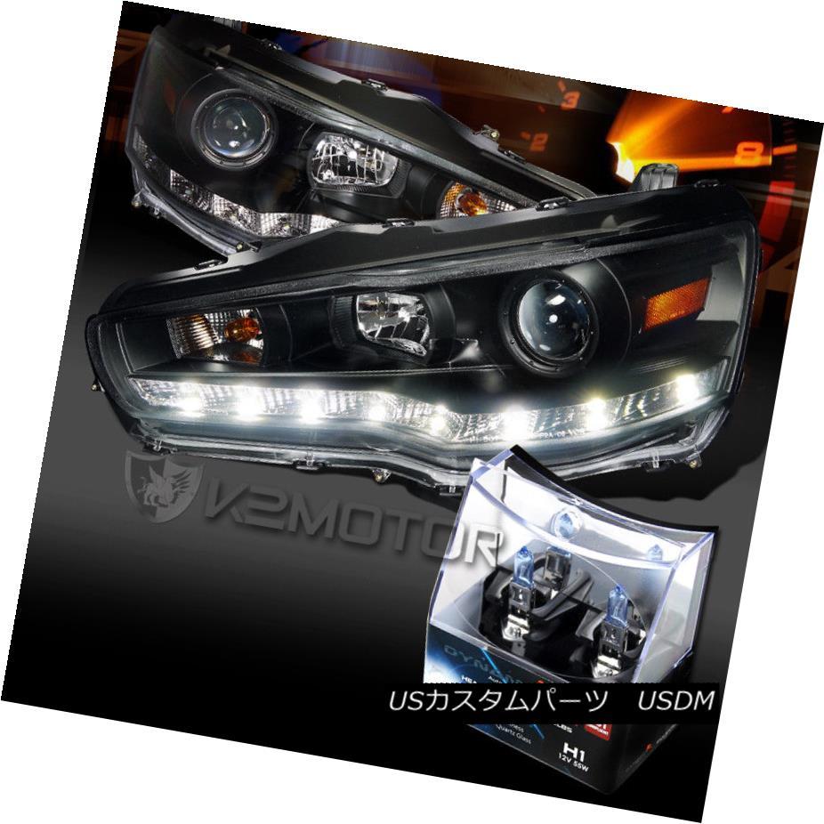 ヘッドライト 08-15 Mitsubishi EVO 10 Black R8 LED Projector Headlights+H1 Halogen Bulbs 08-15三菱EVO 10黒R8 LEDプロジェクターヘッドライト+ H1ハロゲン電球