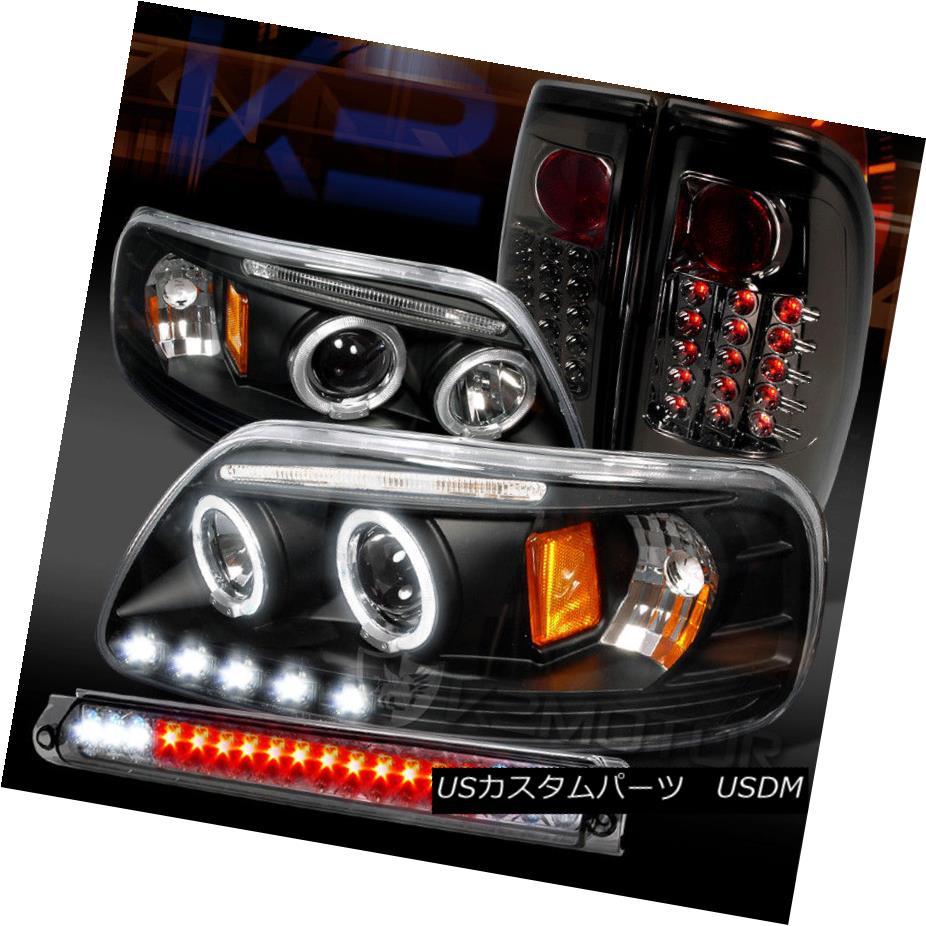 ヘッドライト 97-03 F150 Black Halo LED Projector Headlights+Smoke LED Tail Lamp+LED 3rd Brake 97-03 F150ブラックハローLEDプロジェクターヘッドライト+スモール ke LEDテールランプ+ LED第3ブレーキ