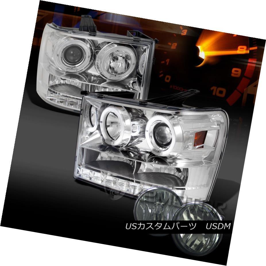 ヘッドライト 07-13 GMC Sierra Chrome SMD DRL Halo Projector Headlights+Smoke Fog Lamps 07-13 GMC Sierra Chrome SMD DRLハロープロジェクターヘッドライト+スモーキー keフォグランプ
