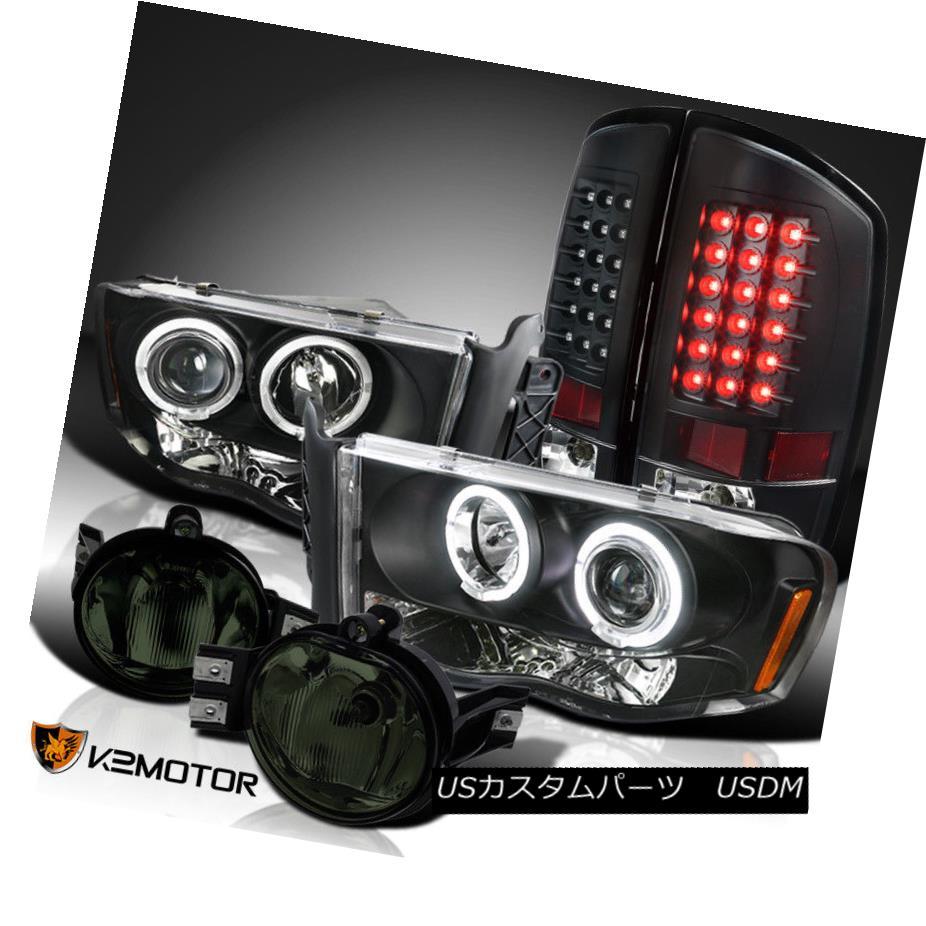 ヘッドライト 02-05 Dodge Ram Black Projector Headlights+LED Tail Lamps+Smoke Fog Lights 02-05ダッジラムブラックプロジェクターヘッドライト+ LEDテールランプ+スモークフォグライト