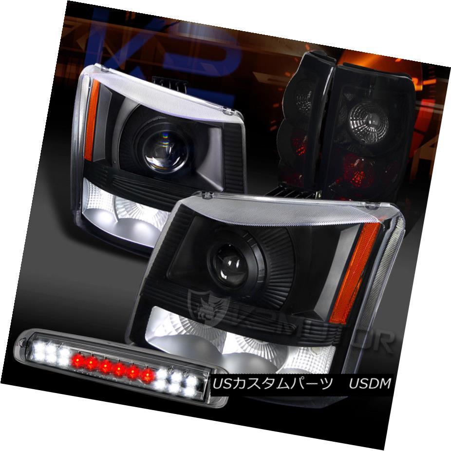 ヘッドライト 03-06 Silverado Projector Headlights+Piano Black Tail Smoke LED 3rd Brake Lamps 03-06 Silveradoプロジェクターヘッドライト+ピアノ ブラックテールスモークLEDなし第3ブレーキランプ
