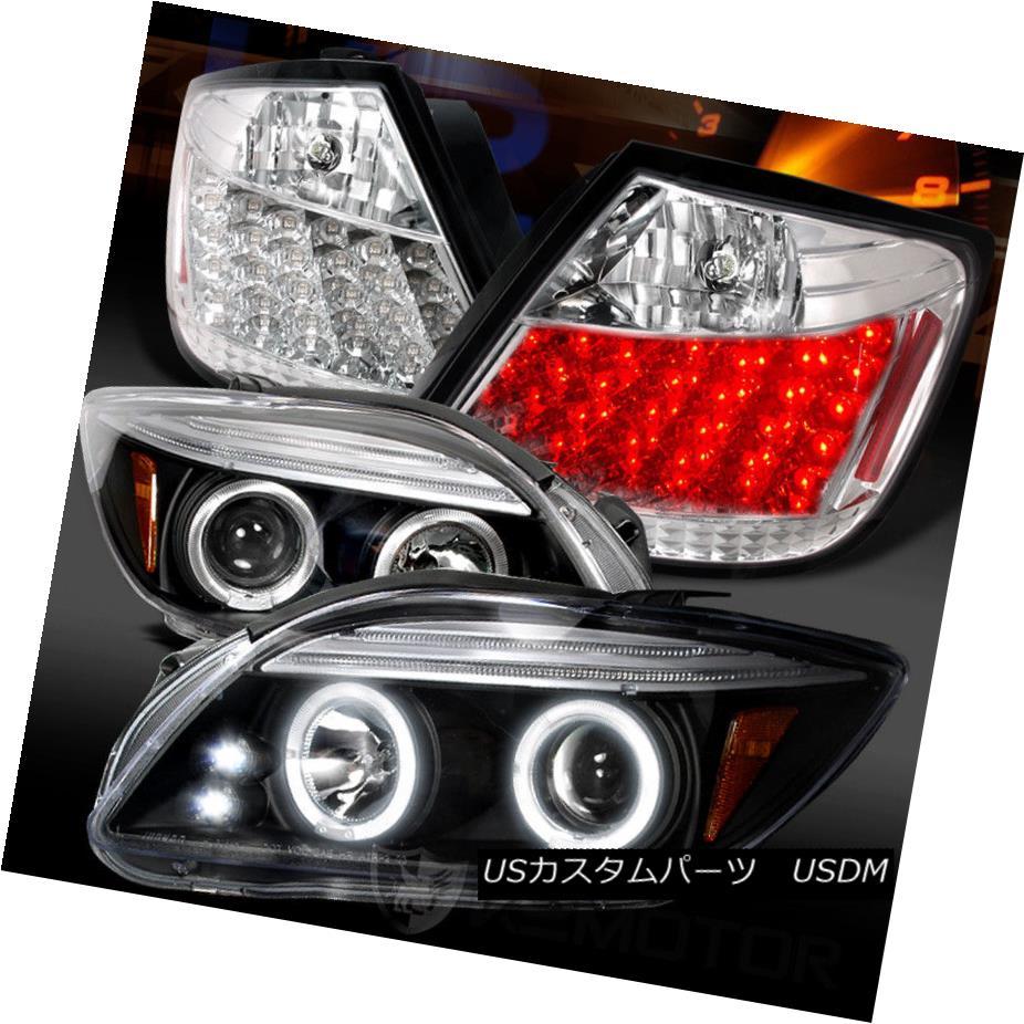 ヘッドライト 05-10 Scion tC Black Halo Projector Headlights+Clear LED Tail Lamps 05-10 Scion tCブラックハロープロジェクターヘッドライト+ Cle  ar LEDテールランプ