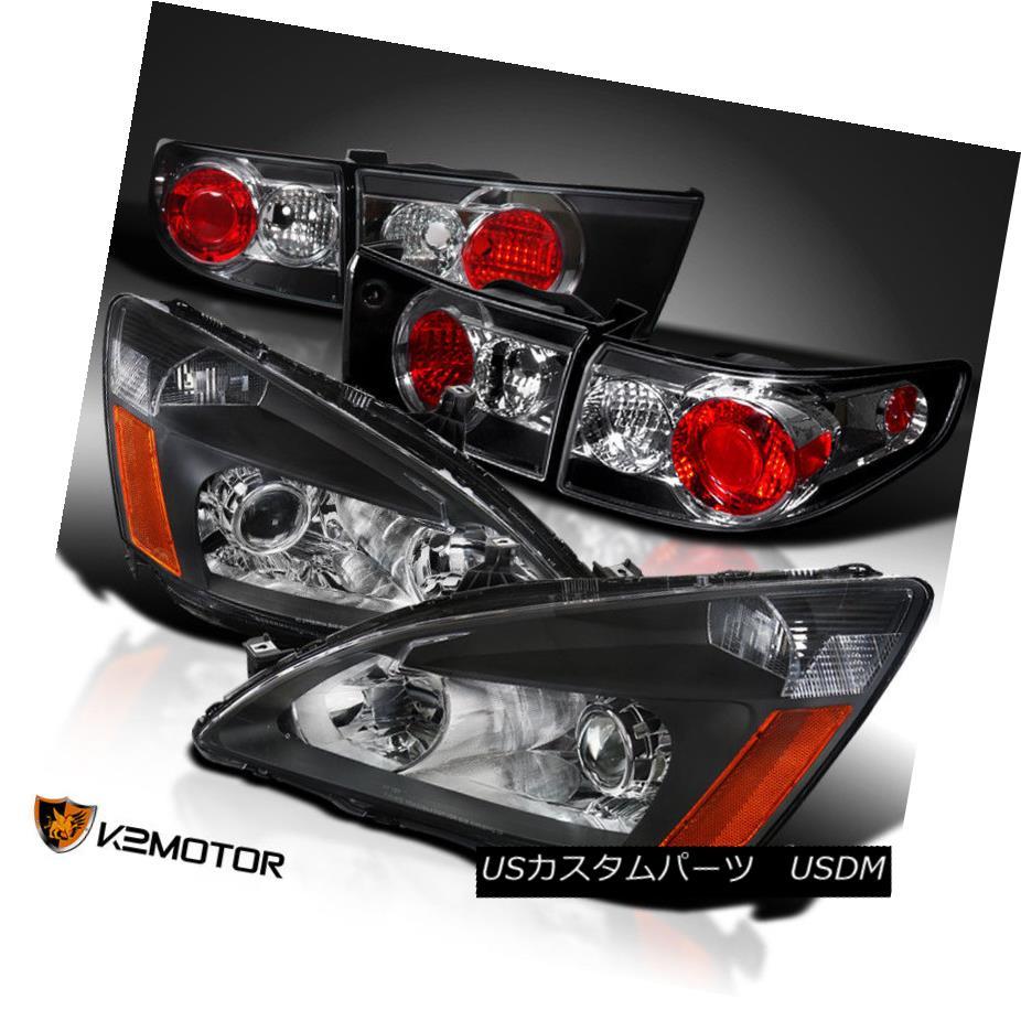 ヘッドライト Fit 2003-2005 Accord 4Dr Black Retro Projector Headlights+Tail Brake Lamps Pair フィット2003?2005アコード4Drブラックレトロプロジェクターヘッドライト+タイ lブレーキランプペア
