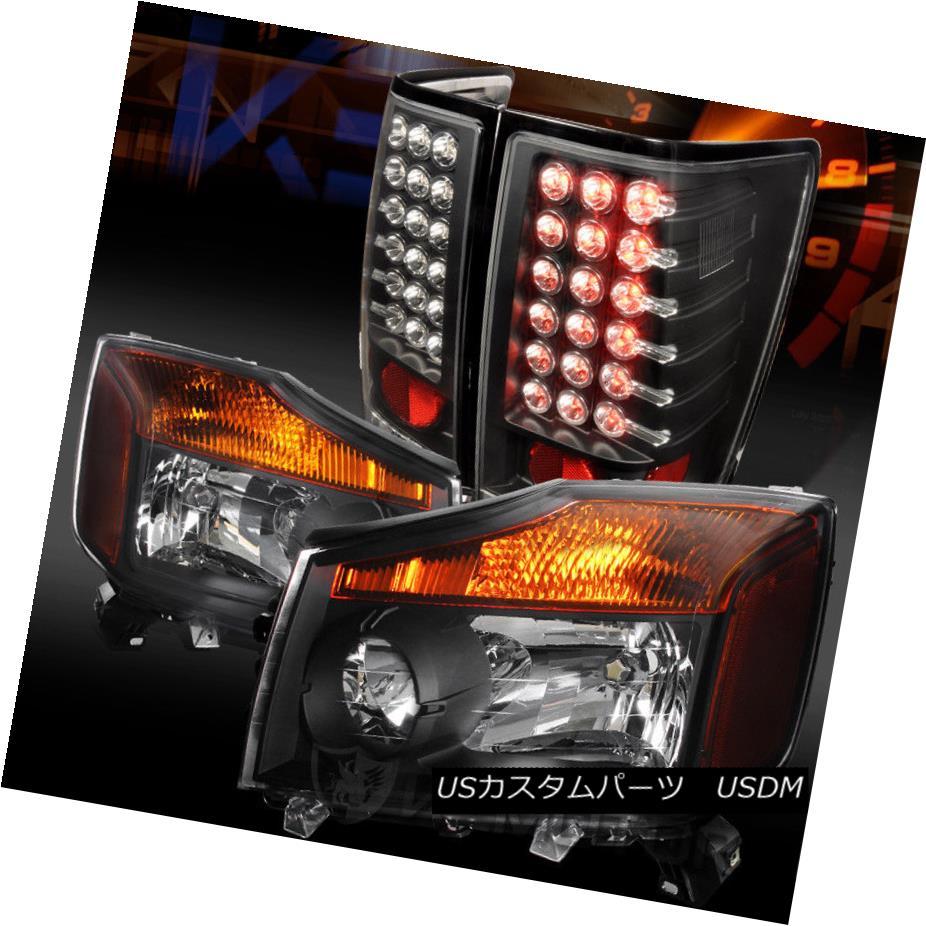 ヘッドライト Fit 04-13 Titan Pickup Crystal Black Headlights+Black LED Tail Lamps フィット04-13タイタンピックアップクリスタルブラックヘッドライト+ Bla  ck LEDテールランプ