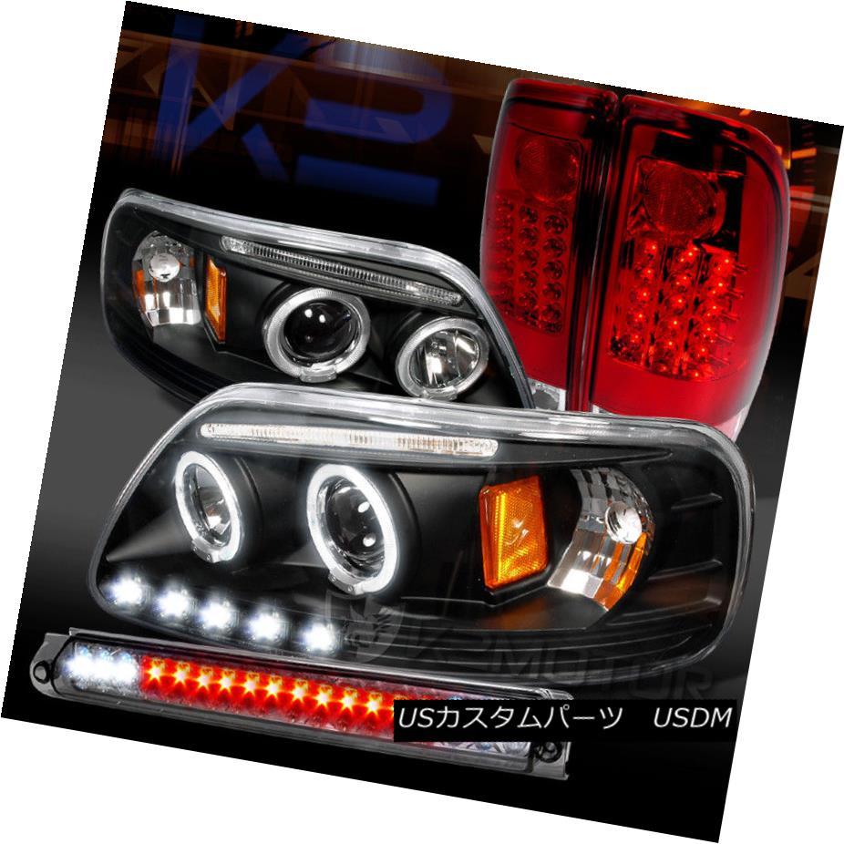 ヘッドライト 97-03 F150 Black Halo Projector Headlights+Red LED Tail Lamp+Smoke LED 3rd Brake 97-03 F150ブラックハロープロジェクターヘッドライト+レッドLEDテールランプ+スモークLED第3ブレーキ