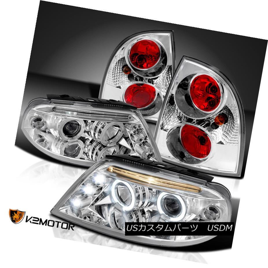 ヘッドライト Fit 01-05 VW Passat LED DRL Halo Projector Chrome Headlights+Clear Tail Lamps フィット01-05 VWパサートLED DRLハロープロジェクタークロームヘッドライト+ Cle  arテールランプ