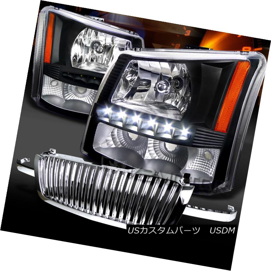 ヘッドライト 03-05 Silverado Black SMD LED DRL Headlights+Chrome Front Hood Grille 03-05 Silverado Black SMD LED DRLヘッドライト+ Chr  omeフロントフードグリル