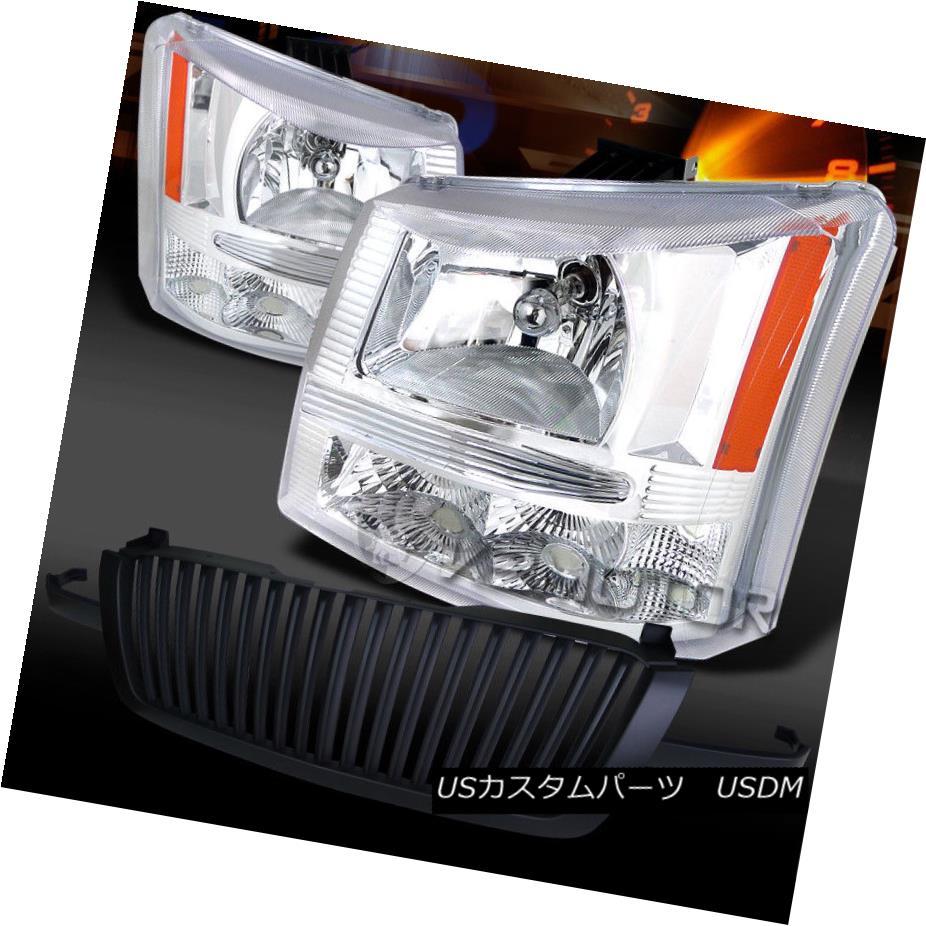 ヘッドライト 03-05 Silverado Avalanche Chrome Headlights+Black Front Hood Grille 03-05 Silverado Avalanche Chromeヘッドライト+ Bla  ckフロントフードグリル