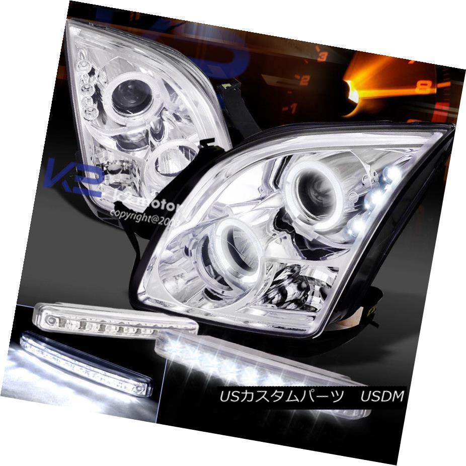ヘッドライト 06-09 Ford Fusion Chrome Halo Projector Headlight+8-LED Bumper DRL Fog Lights 06-09フォードフュージョンクロームハロープロジェクターヘッドライト+ 8-LE  DバンパーDRLフォグライト