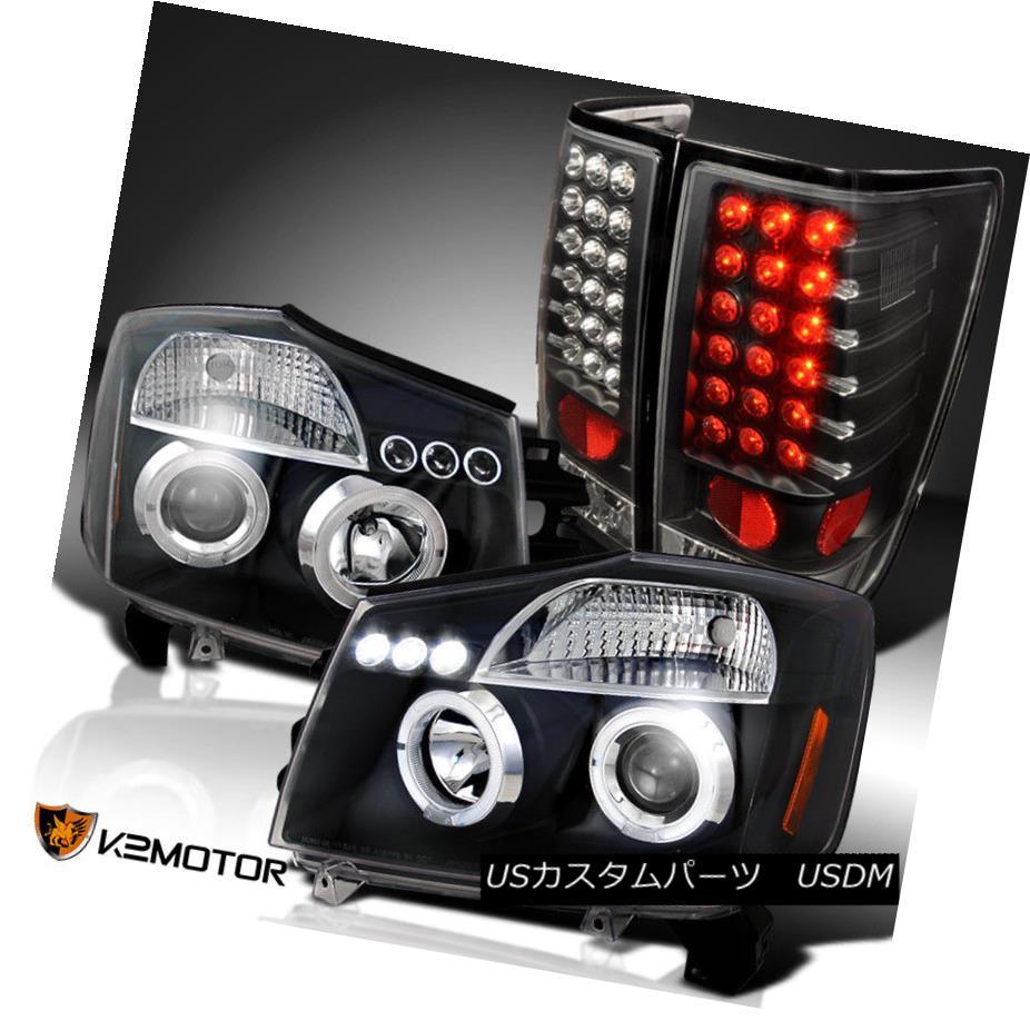 ヘッドライト Black Halo Projector Headlights+LED Tail Lamps Combo For 04-13 Nissan Titan ブラックハロープロジェクターヘッドライト+ LEDテールランプコンボ(04-13日産)