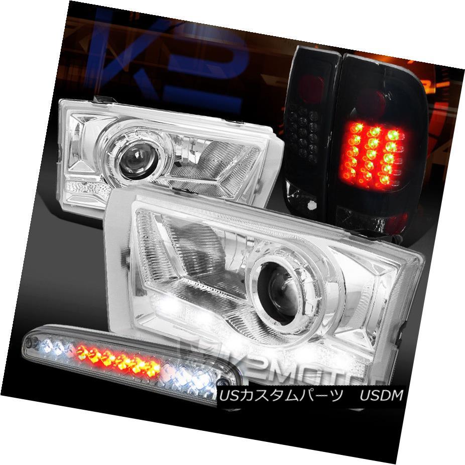 ヘッドライト 99-04 F250 Clear SMD DRL Projector Headlight+3rd Brake+Piano Black LED Tail Lamp 99-04 F250クリアSMD DRLプロジェクターヘッドライト+ 3番ブレーキ+ピアノブラックLEDテールランプ