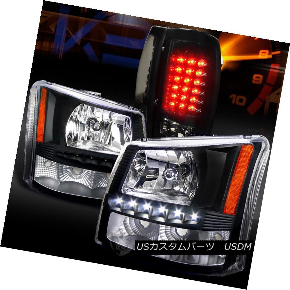 ヘッドライト 03-06 Silverado 1PC SMD DRL Headlight Bumper Lamp+Glossy Black LED Tail Lights 03-06 Silverado 1PC SMD DRLヘッドライトバンパーランプ+光沢のある黒色LEDテールライト